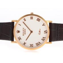 Replik Rolex Cellini Rose Gold Case Roman Marker mit White Dial-Leather Strap 20127