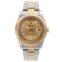 Repliki Rolex Day-Date II Automatic Two Tone Stick Markers with Golden Dial – Attractive Rolex Day Date II Watch for You 22909