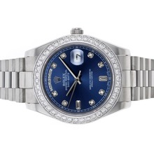 Repliki Rolex Day-Date II Automatic Diamond Bezel and Markers with Blue Dial – Attractive Rolex Day Date II Watch for You 22864
