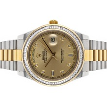 Replik Rolex Day-Date II Swiss ETA 2836 Bewegung Two Tone CZ Diamond Bezel mit Golden Dial - Attraktive Rolex Day Date II Uhr für Sie 22815