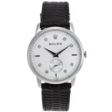 Replik Rolex Cellini Automatic Diamant Marker mit White Dial-Leather Strap 20123