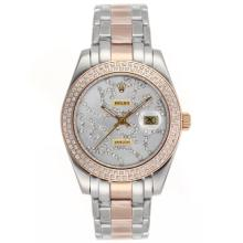 Repliki Rolex Masterpiece II Automatic Two Tone Diamond Bezel with Diamond Silver Dial 24779