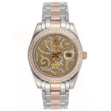 Repliki Rolex Masterpiece II Automatic Two Tone Diamond Bezel with Diamond Golden Dial 24778