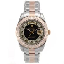 Repliki Rolex Masterpiece II Automatic Two Tone Diamond Bezel Roman Markers with Black Dial 24773