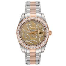 Repliki Rolex Masterpiece II Automatic Two Tone Diamond Bezel with Diamond Golden Dial 24764