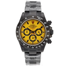 Replik Rolex Daytona Chronograph Arbeitsgruppe Volle PVD-Stick Marker mit Yellow Dial-Black Out Limited Edition - Attraktive Rolex Daytona Uhr für Sie 23294