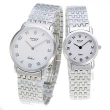 Repliki Rolex Number Markers with White Dial S/S-Couple Watch – Attractive Rolex Others Watch for You 24886