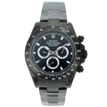Repliki Rolex Daytona II Automatic Full PVD Stick Markers with Black Dial-Sapphire Glass 24175