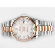 Repliki Rolex Datejust Swiss ETA 2836 Movement With Two Tone Rose Gold Case-White Dial 13868