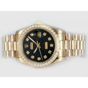 Repliki Rolex Datejust Automatic Full Gold Diamond Marking and Bezel with Black Computer Dial 14001