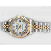 Repliki Rolex Datejust Automatic Two Tone with White Dial-Roman Marking 14002