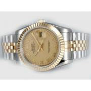 Repliki Rolex Datejust Automatic Two Tone with Golden Dial-Roman Marking 14007
