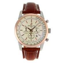 Replik Breitling Aeromarine Working Chronograph Two Tone Gehäuse-Stick Marker mit White Dial-Leather Strap 26380