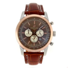 Replik Breitling Aeromarine Working Chronograph Two Tone Gehäuse-Stick Marker mit Brown Dial-Leather Strap 26379