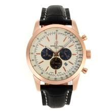 Replik Breitling Aeromarine Working Chronograph Rotgold-Stick Marker mit White Dial-Leather Strap 26377