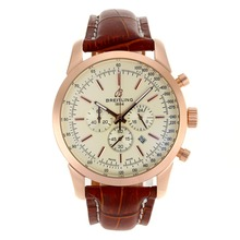 Replik Breitling Aeromarine Working Chronograph Rotgold-Stick Marker mit White Dial-Leather Strap 26376