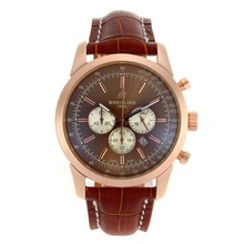 Replik Breitling Aeromarine Working Chronograph Rotgold-Stick Marker mit Brown Dial-Leather Strap 26375