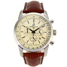 Repliki Breitling Aeromarine Working Chronograph Stick Markers with White Dial-Leather Strap 26374