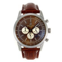 Replik Breitling Aeromarine Working Chronograph-Stick Marker mit Brown Dial-Leather Strap 26373