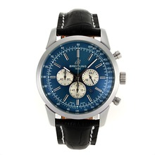Replik Breitling Aeromarine Working Chronograph-Stick Marker mit Blue Dial-Leather Strap 26372