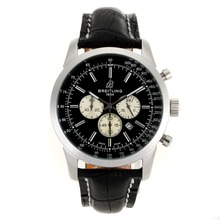 Repliki Breitling Aeromarine Working Chronograph Stick Markers with Black Dial-Leather Strap 26371