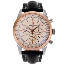 Replik Breitling Aeromarine Working Chronograph Two Tone Gehäuse-Stick Marker mit White Dial-Leather Strap 26364