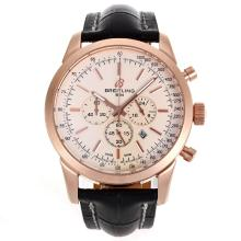 Repliki Breitling Aeromarine Working Chronograph Rose Gold Case Stick Markers with White Dial-Leather Strap 26362