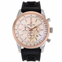 Replik Breitling Aeromarine Working Chronograph Two Tone Gehäuse-Stick Marker mit White Dial-Rubber Strap 26361