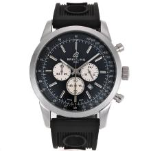Repliki Breitling Aeromarine Working Chronograph Stick Markers with Black Dial-Rubber Strap 26358