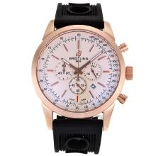 Replik Breitling Aeromarine Working Chronograph Rotgold-Stick Marker mit White Dial-Rubber Strap 26356