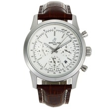 Repliki Breitling Aeromarine Automatic with White Dial-Leather Strap 26349