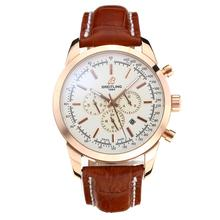Repliki Breitling Aeromarine Automatic Rose Gold Case with White Dial-Leather Strap 26346