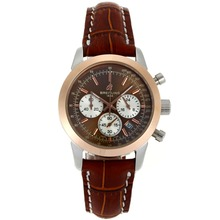 Replik Breitling Aeromarine Working Chronograph Two Tone Gehäuse Brown Zifferblatt mit Lederband-Lady Größe 26336