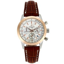 Replik Breitling Aeromarine Working Chronograph Two Tone Case White Dial mit Lederband-Lady Größe 26335