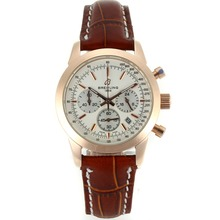 Repliki Breitling Aeromarine Working Chronograph White Dial with Leather Strap-Lady Size 26325