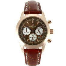 Replik Breitling Aeromarine Working Chronograph Brown Zifferblatt mit Lederband-Lady Größe 26324