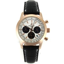 Replik Breitling Aeromarine Working Chronograph Rose Gold Case White Dial mit Lederband-Lady Größe 26323