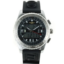 Replik Breitling Emergency Digitale Displayer mit schwarzem Zifferblatt-Rubber Strap - Attraktive Breitling Emergency Watch für Sie 26257