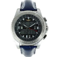 Replik Breitling Emergency Digitale Displayer mit schwarzem Zifferblatt-Blue Leather Strap - Attraktive Breitling Emergency Watch für Sie 26254