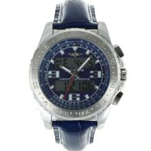 Replik Breitling Emergency Digitale Displayer mit Blue Dial-Blue Leather Strap - Attraktive Breitling Emergency Watch für Sie 26253