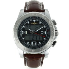 Replik Breitling Emergency Digitale Displayer mit schwarzem Zifferblatt-Brown Leather Strap - Attraktive Breitling Emergency Watch für Sie 26249