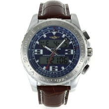 Replik Breitling Emergency Digitale Displayer mit Blue Dial-Brown Leather Strap - Attraktive Breitling Emergency Watch für Sie 26247