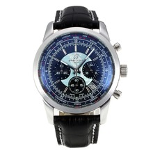 Repliki Breitling Transocean Working Chronograph Unitime with Black Dial-Black Leather Strap 26095