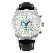 Repliki Breitling Transocean Working Chronograph Unitime with White Dial-Black Leather Strap 26093