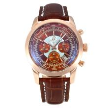 Replik Breitling Transocean Chronograph Arbeitsgruppe Unitime Roe Gold Case mit Brown Dial-Brown Leather Strap 26076