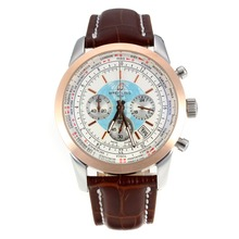 Replik Breitling Transocean Chronograph Arbeitsgruppe Unitime Roe Gold Case mit White Dial-Brown Leather Strap 26075