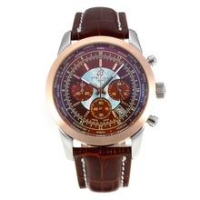 Replik Breitling Transocean Chronograph Arbeitsgruppe Unitime Roe Gold Case mit Brown Dial-Brown Leather Strap 26074