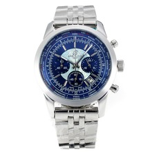 Repliki Breitling Transocean Working Chronograph Unitime with Blue Dial S/S 26068