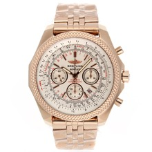 Repliki Breitling for Bentley Chronograph Swiss Valjoux 7750 Movement Full Rose Gold with White Dial – Attractive Breitling Bentley Watch for You 26603