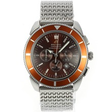 Replik Breitling Super Ocean Chronograph Arbeitsgruppe mit Brown Zifferblatt und Lünette S / S - Attraktive Breitling Super Ocean for You 26600 Schauen